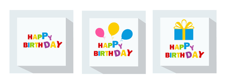 Happy Birthday typography vector design for greeting cards and poster with balloons and gift box, design template for birthday celebration. Çizim