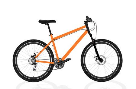 New orange bicycle isolated on a white background