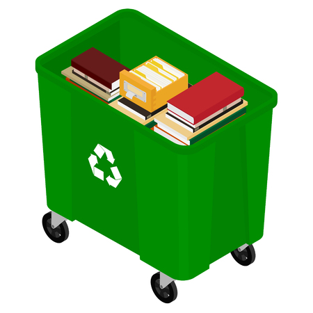Garbage trash container full of books. Paper recycle concept
