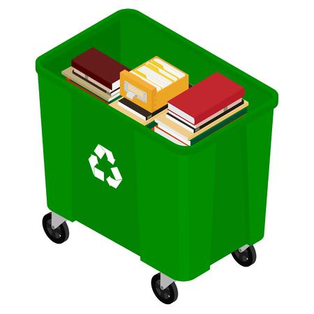 Poubelle poubelle pleine de livres. Concept de recyclage du papier