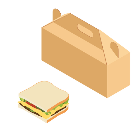 Isometric paper lunch box and sandwich isolated on white background. Takeaway food Illusztráció