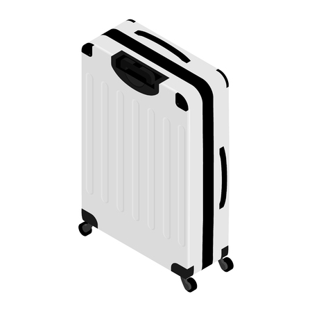 Isometric realistic travel suitcase with wheels isolated on white background