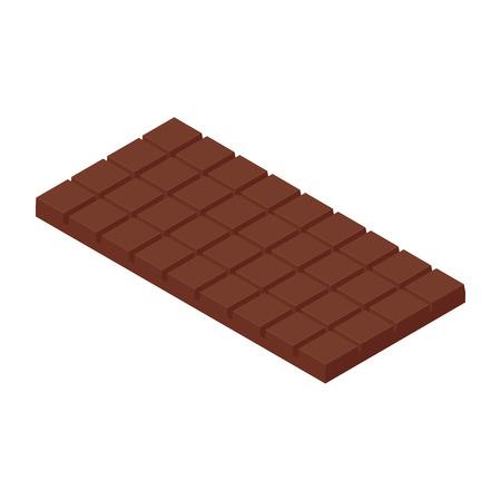 Isometric chocolate bar  isolated on white bacground. Milk chocolate