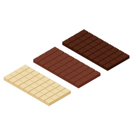 Isometric chocolate bars  isolated on white bacground. White, dark and mil chocolate Ilustração