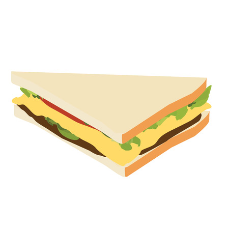 Slice of sandwich with ham, cheese, tomatoes, lettuce, and toasted bread isometric view 일러스트