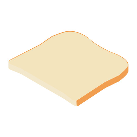 Toast bread slice isolated on white background .Toast icon isometric view