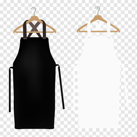 White and black aprons isolated on transparent background, apron mockup, clean apron. Иллюстрация