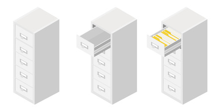 Office files in a filing cabinets drawer, business administration and data storage concept