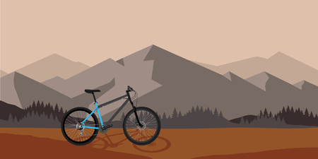 Bicycle riding in wild mountain nature landscape, background vector illustration. Sunset time Vecteurs