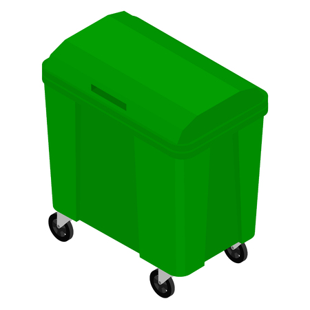 Isometric green garbage trash bin can dustbin container isolated on white background
