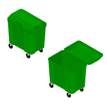Isometric green  empty garbage trash bin can dustbin container isolated on white background