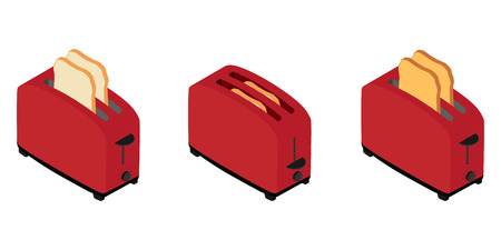 Isometric toaster with toasted bread for breakfast inside isolated on white. How to make toast concept  イラスト・ベクター素材