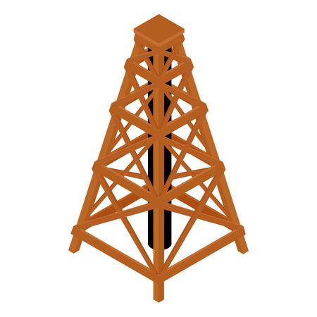 Isometric wooden wood tower isolated on white Illustration