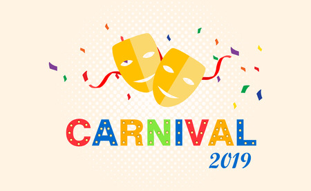Carnival card or banner with confetti. Typography design.