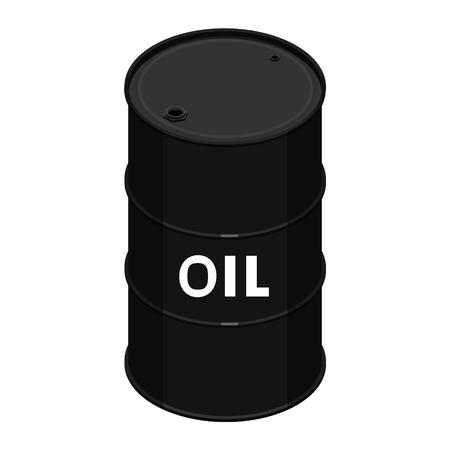 Blank realistic black oil barrel with text oil Ilustração