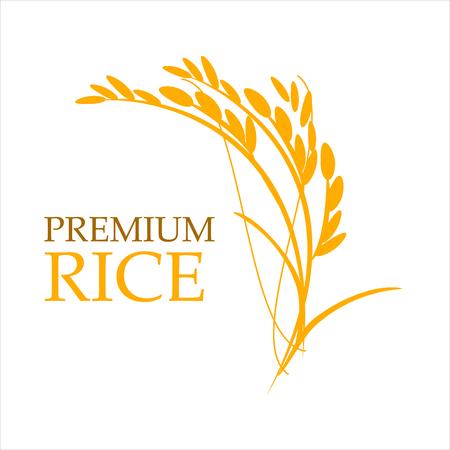 Orange paddy rice premium organic natural product banner logo vector design Иллюстрация
