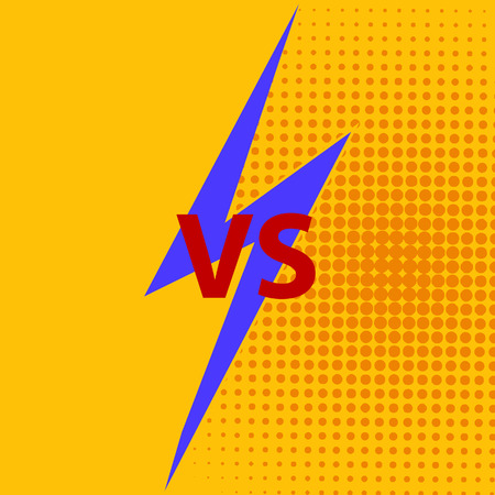 Versus VS letters fight background in flat comics style design with halftone