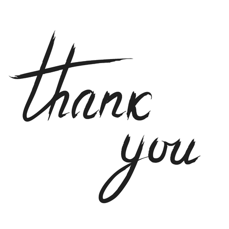 Thank You handwritten inscription. Hand drawn lettering. Thank You calligraphy. Thank you card.