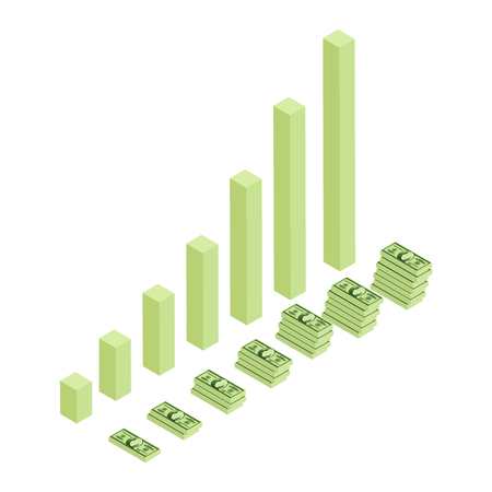 Raster illustration of rising money charts, business success concept. Dollar banknotes