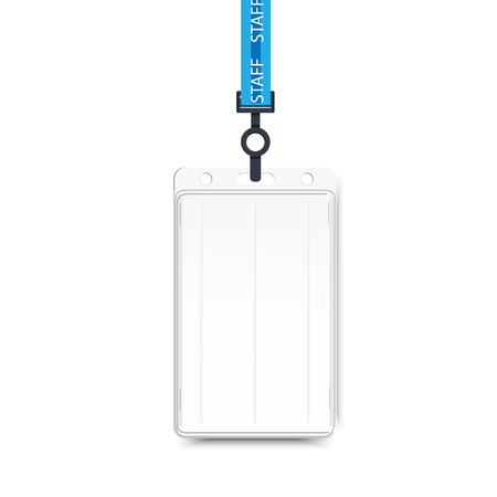 Raster illustration of employees identification card on lanyard, cord and strap. Realistic plastic badge sampls for presentation or conference visitors, press, media