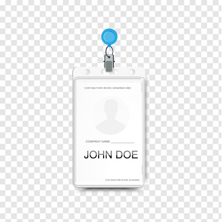 Raster illustration of employees identification card with metal clip. Realistic plastic badge sample for presentation or conference visitors, press, media