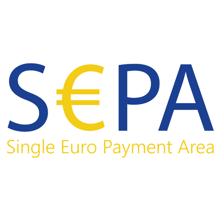 SEPA - Single Euro Payments Area sign isolated on white background. Raster