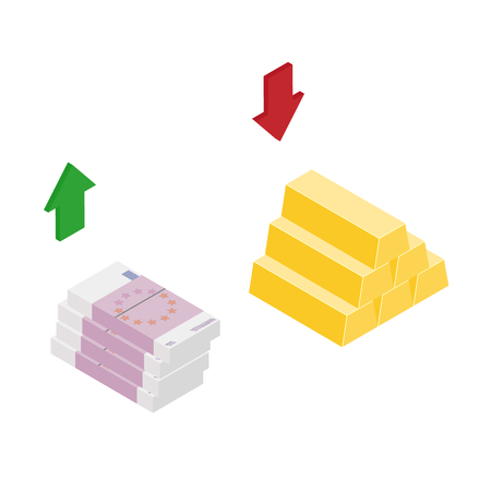 Isometric golden gold bar and euro banknotes up and down arrows. Currency excange rate concept. Raster illustration