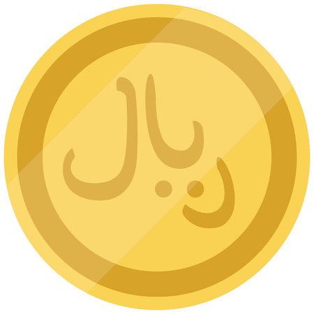 Golden Saudi Arabia coin isolated on white background. Saudi Riyal. Raster illustration Stock Photo