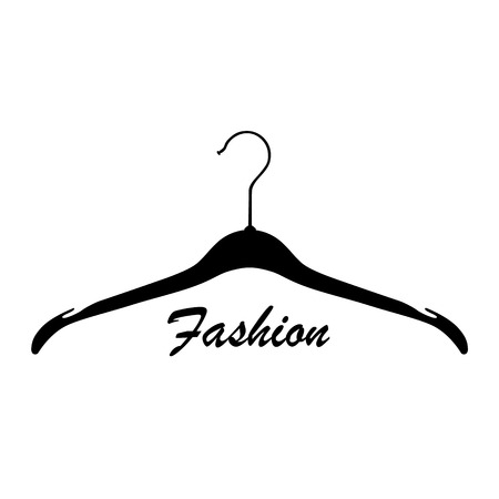 Creative fashion logo design. Raster sign with lettering and hanger symbol. Logotype calligraphy