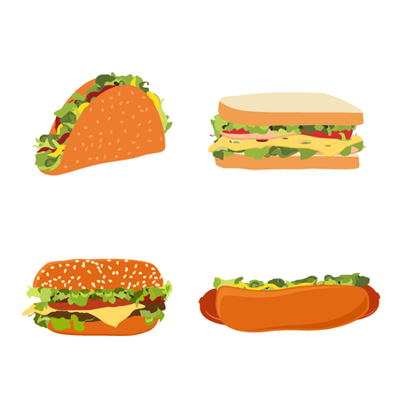 Raster illustration set of fast food illustrations hotdog, sandwich, burger hamburger or cheeseburger and traditional mexican fast food taco isolated on white background. Standard-Bild - 122319129