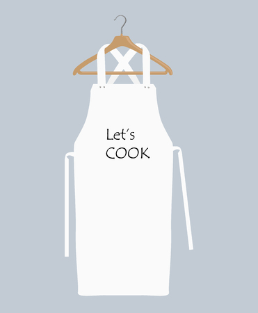 White kitchen apron on hanger . Chef uniform for cooking raster template. Kitchen protective white apron for chef uniform illustration