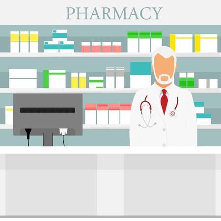 Old man senior pharmacist in pharmacy or drugstore. Raster illustration