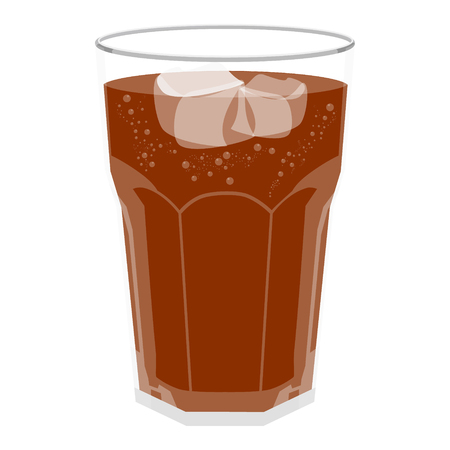 Refreshing Bubbly Soda Pop with Ice Cubes. Cold soda iced drink in a glass
