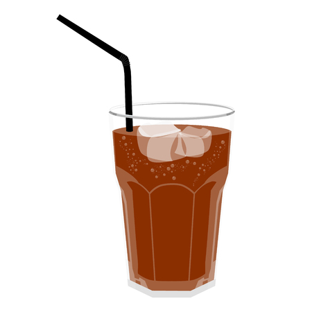 Refreshing Bubbly Soda Pop with Ice Cubes and Straw. Cold soda iced drink in a glass