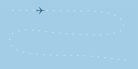 Airplane line path raster icon. Air plane flight route with start point and dash line trace Stock Photo