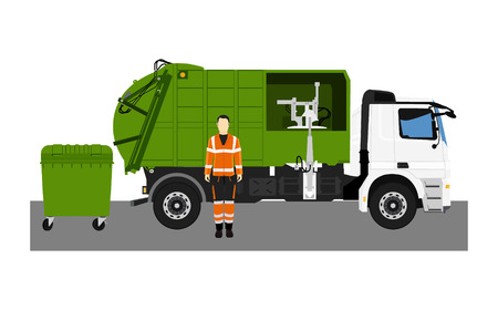 Garbage truck and sanitation worker. Raster illustration Standard-Bild