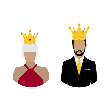 Royal family queen and king in crown. Monarch. Famous people. raster Stock Photo