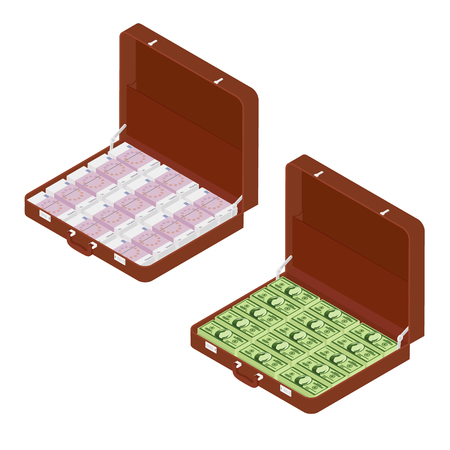 Two brown briefcases with million euro, dollars  isometric view