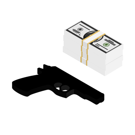 Gun and money concept isolated on white background. Isometric view. Stock Illustratie