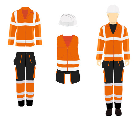 Man worker in uniform. Professional protective clothes and safety helmet. Man's figure.