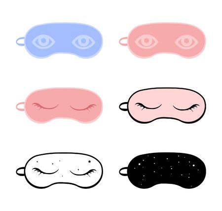 Sleeping eye mask collection isolated on white background.