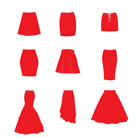 Set of different types of skirts. A-line, tube, mini, pencil, circle, draped, mermaid, asymmetrical and box pleated 스톡 콘텐츠