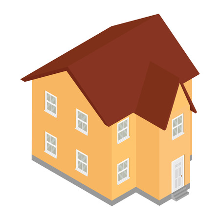 House isometric view raster icon isolated on white background.