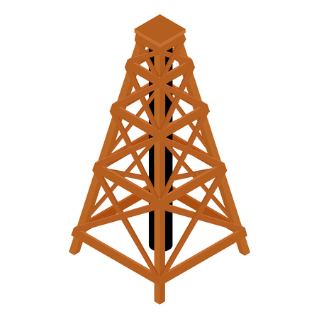 Isometric wooden wood tower isolated on white Stock Photo