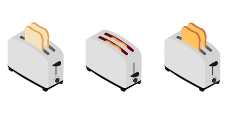 Isometric toaster with toasted bread for breakfast inside isolated on white. How to make toast concept 写真素材