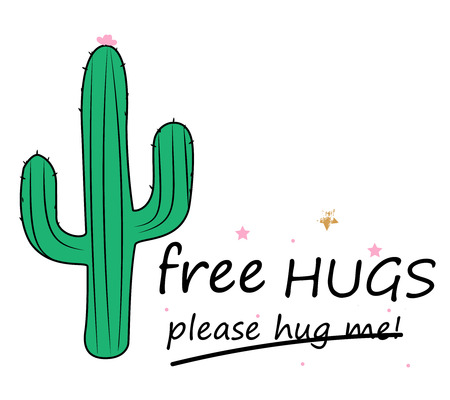 Cute hand drawn cactus print banner with inspirational quote isolated on white.  Free Hugs