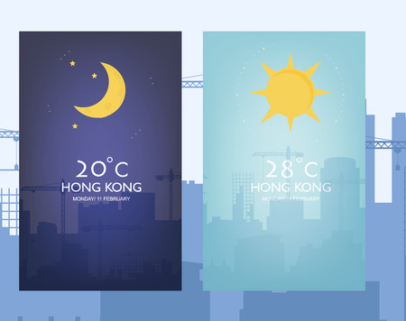 Day and night landscape illustration with sun, moon, stars ,clouds. Weather app user interface design