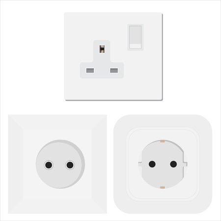 Socket  raster electrical outlet for electric plugs and electricity illustration set of different types of power sockets isoletad on white background Standard-Bild - 123236820