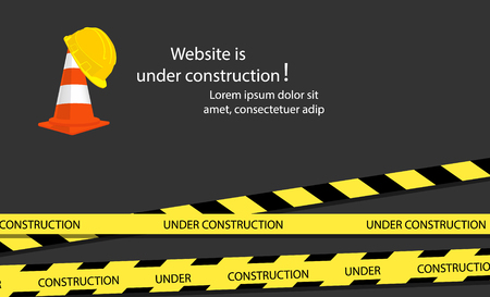 Website under construction page. Under construction website page with black and yellow striped borders raster illustration. Border stripe web, warning banner