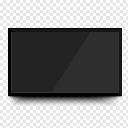 Realistic TV screen. Modern stylish lcd panel, led type. Large computer monitor display mockup. Blank television template. Graphic design element for catalog, web site, as mock up.